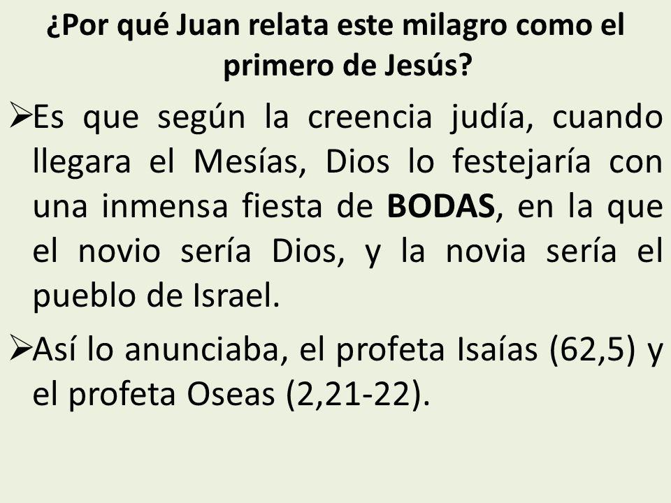 ¿Por qué Juan relata este milagro como el primero de Jesús