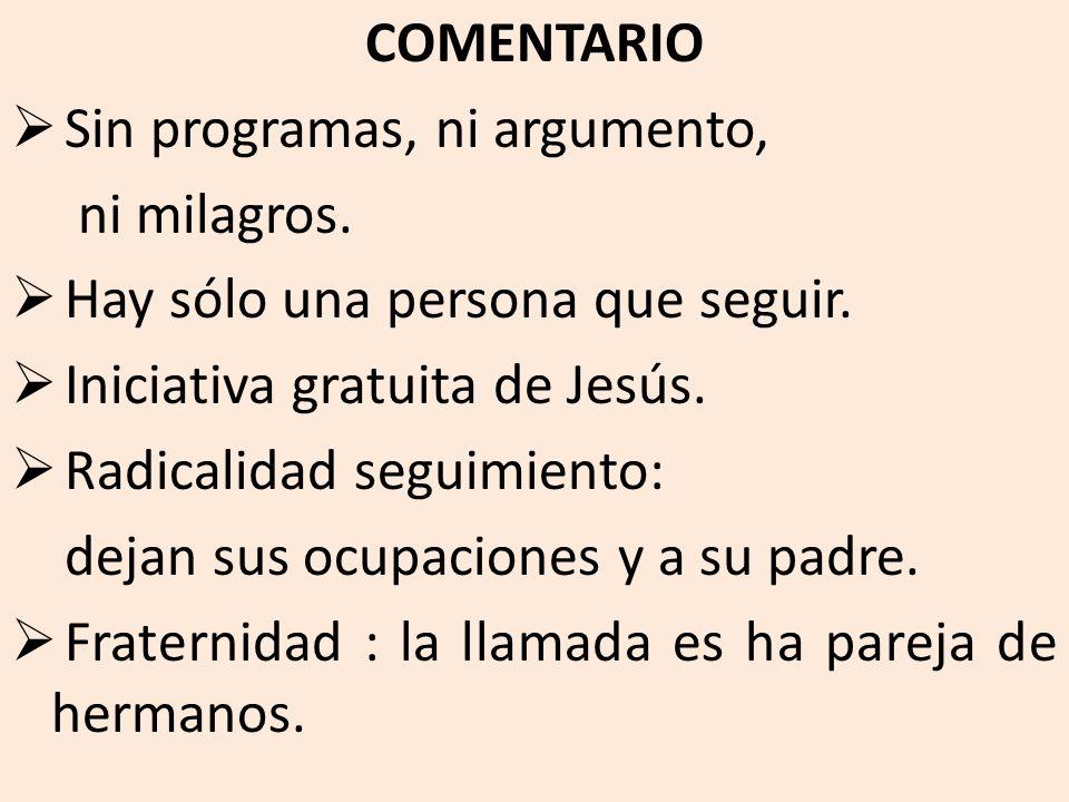 COMENTARIO Sin programas, ni argumento, ni milagros. Hay sólo una persona que seguir. Iniciativa gratuita de Jesús.