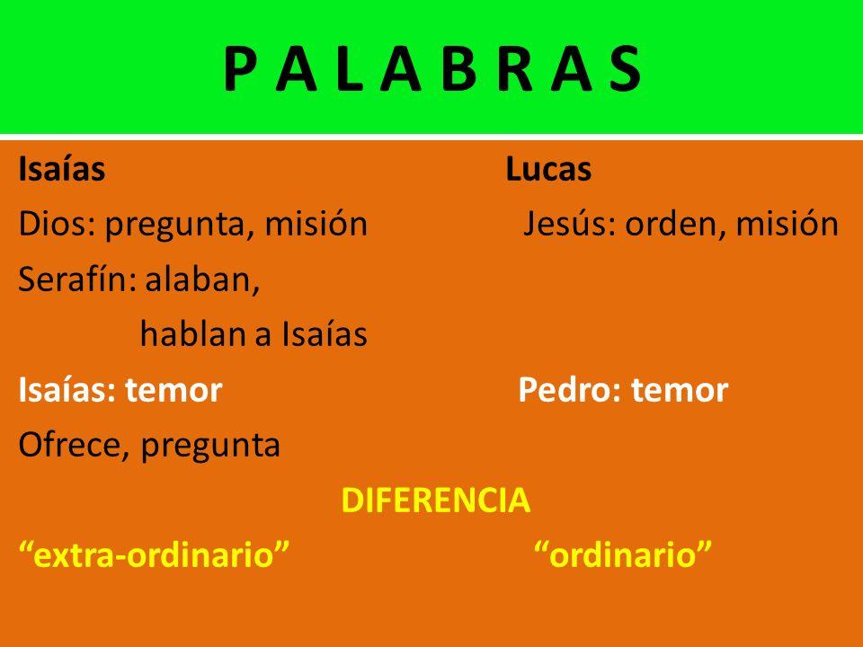 P A L A B R A S Isaías Lucas. Dios: pregunta, misión Jesús: orden, misión.