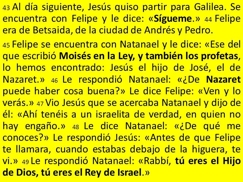 43 Al día siguiente, Jesús quiso partir para Galilea