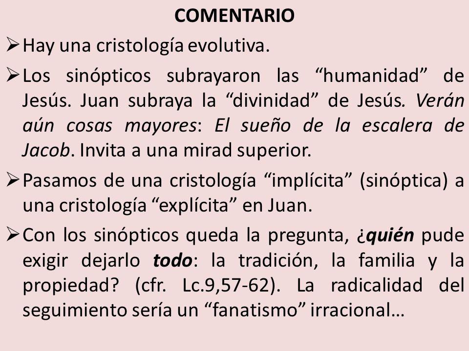 COMENTARIO Hay una cristología evolutiva.