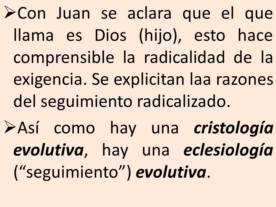 Con Juan se aclara que el que llama es Dios (hijo), esto hace comprensible la radicalidad de la exigencia. Se explicitan laa razones del seguimiento radicalizado.
