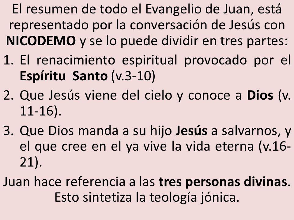El resumen de todo el Evangelio de Juan, está representado por la conversación de Jesús con NICODEMO y se lo puede dividir en tres partes:
