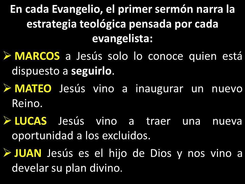 En cada Evangelio, el primer sermón narra la estrategia teológica pensada por cada evangelista:
