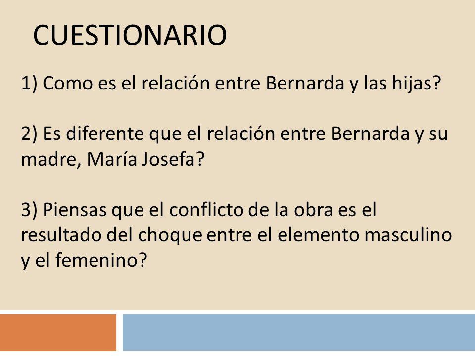 Cuestionario 1) Como es el relación entre Bernarda y las hijas