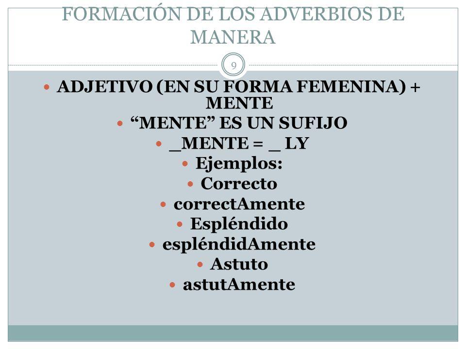 FORMACIÓN DE LOS ADVERBIOS DE MANERA