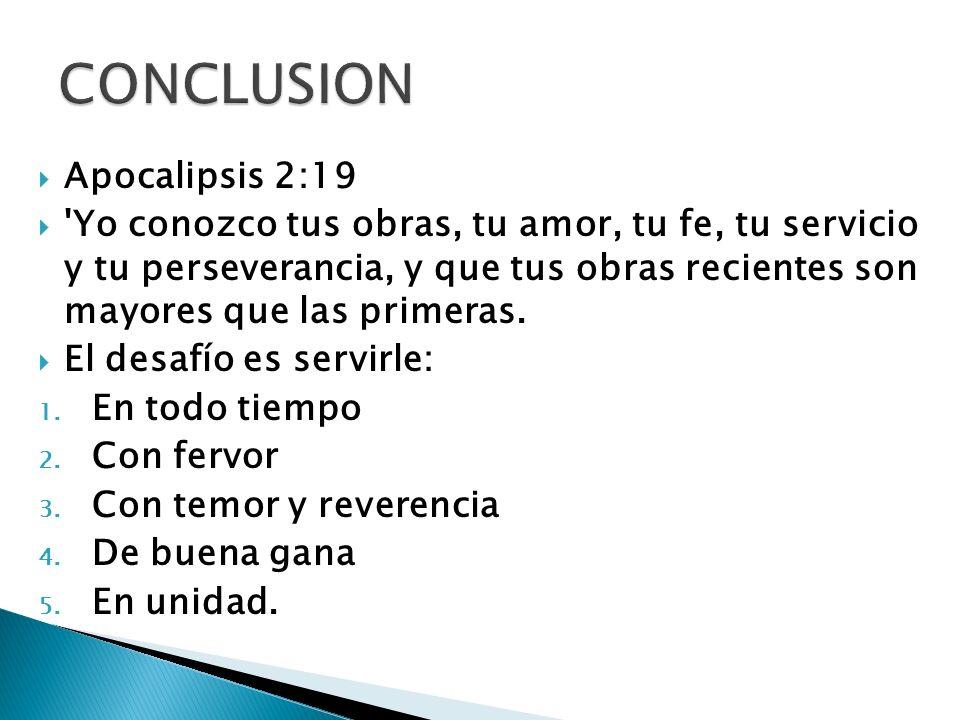 CONCLUSION Apocalipsis 2:19