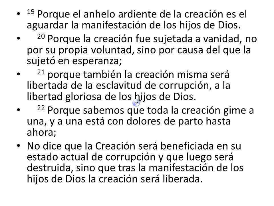 19 Porque el anhelo ardiente de la creación es el aguardar la manifestación de los hijos de Dios.
