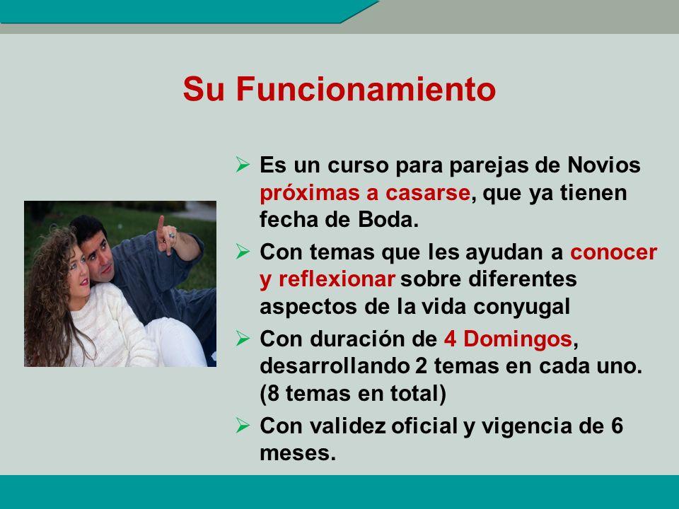 Su Funcionamiento Es un curso para parejas de Novios próximas a casarse, que ya tienen fecha de Boda.