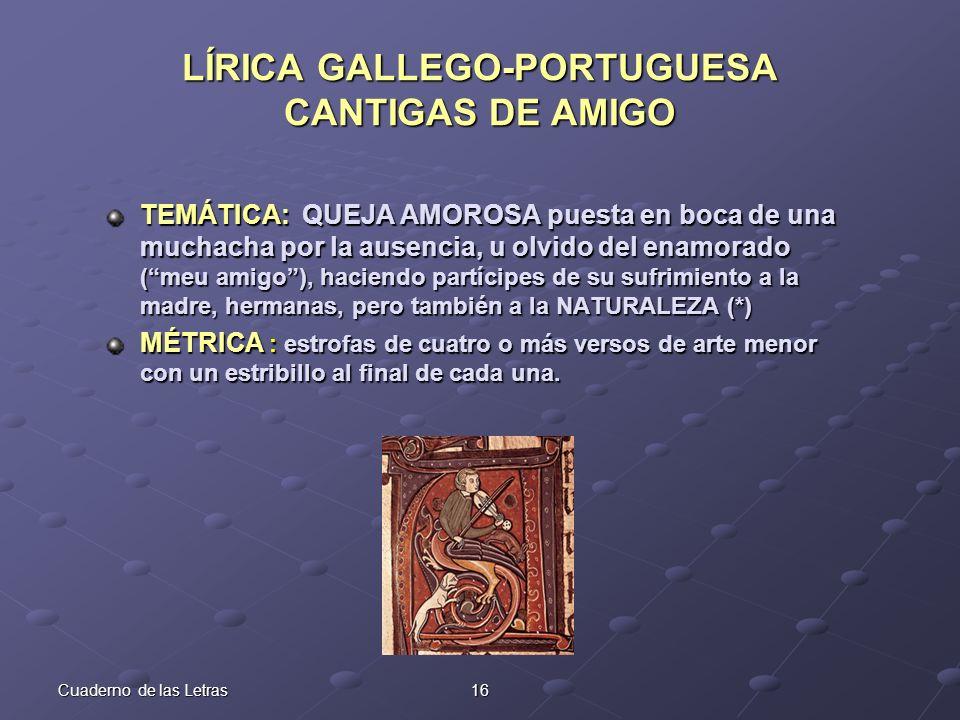 LÍRICA GALLEGO-PORTUGUESA CANTIGAS DE AMIGO