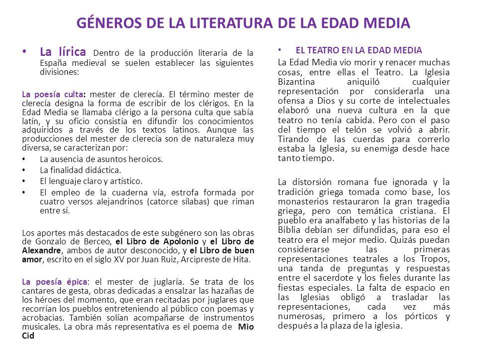 GÉNEROS DE LA LITERATURA DE LA EDAD MEDIA