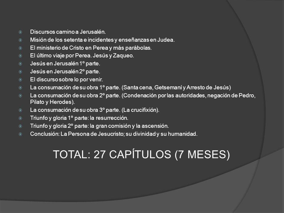 TOTAL: 27 CAPÍTULOS (7 MESES)