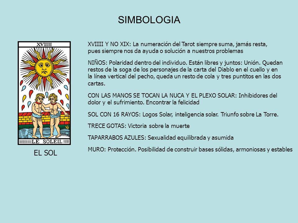 SIMBOLOGIA XVIIII Y NO XIX: La numeración del Tarot siempre suma, jamás resta, pues siempre nos da ayuda o solución a nuestros problemas.