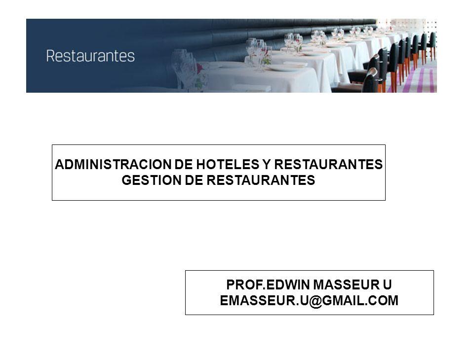 ADMINISTRACION DE HOTELES Y RESTAURANTES GESTION DE RESTAURANTES