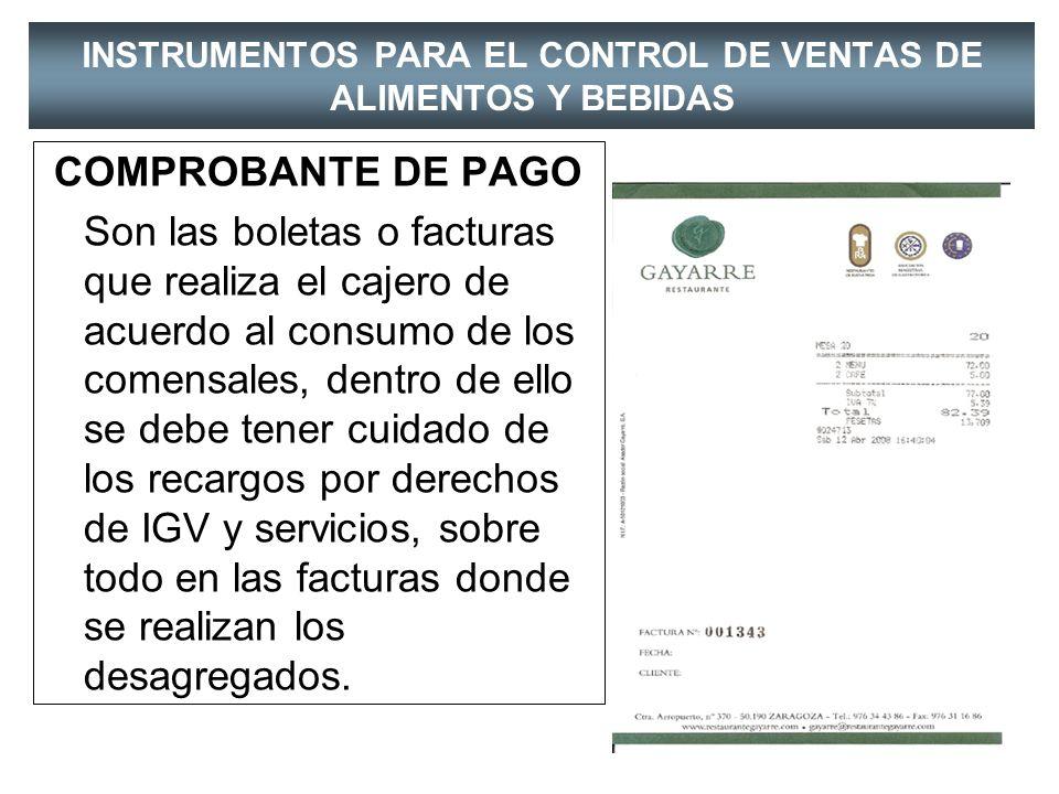 INSTRUMENTOS PARA EL CONTROL DE VENTAS DE ALIMENTOS Y BEBIDAS