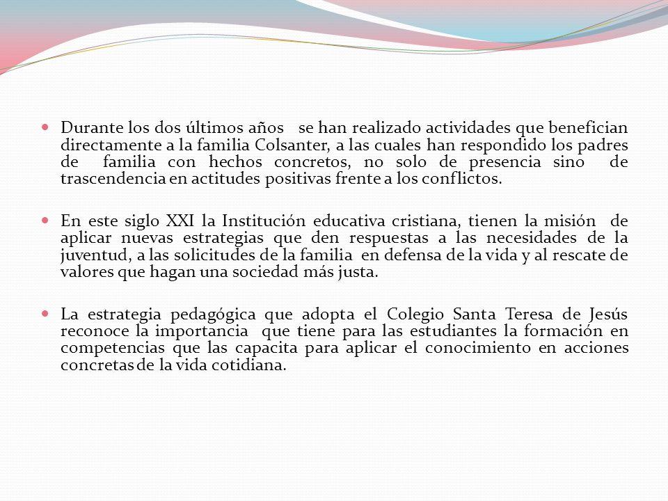 Durante los dos últimos años se han realizado actividades que benefician directamente a la familia Colsanter, a las cuales han respondido los padres de familia con hechos concretos, no solo de presencia sino de trascendencia en actitudes positivas frente a los conflictos.
