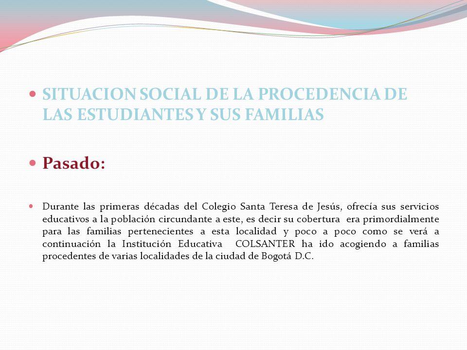 SITUACION SOCIAL DE LA PROCEDENCIA DE LAS ESTUDIANTES Y SUS FAMILIAS