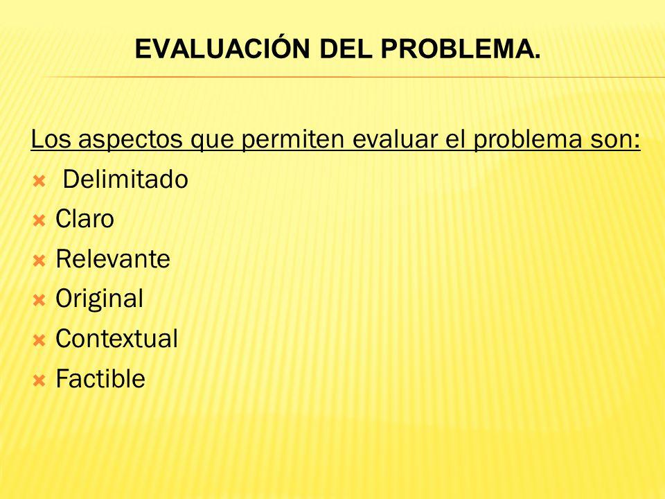 EVALUACIÓN DEL PROBLEMA.