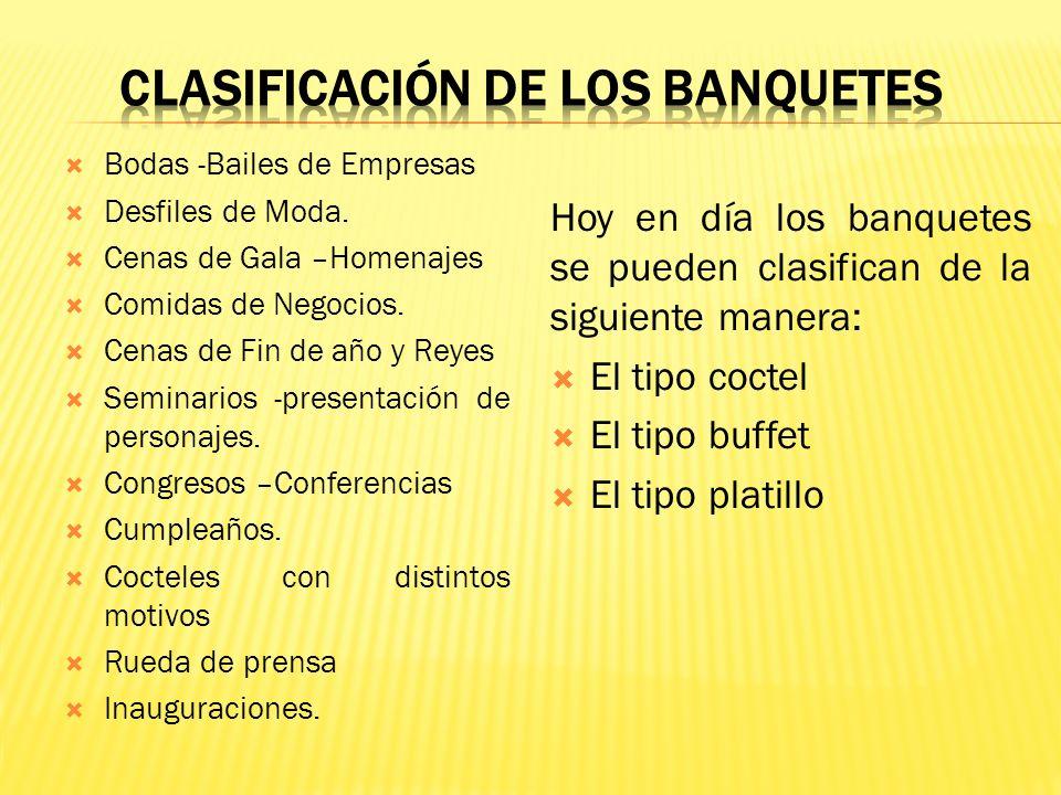 CLASIFICACIÓN DE LOS BANQUETES