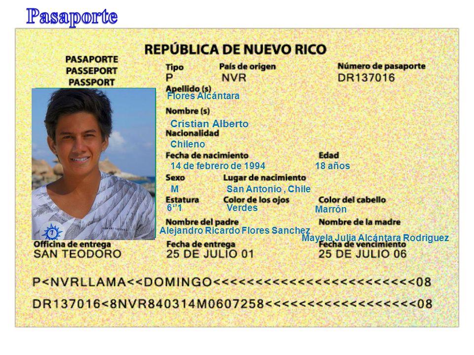 Pasaporte Cristian Alberto Flores Alcántara Chileno