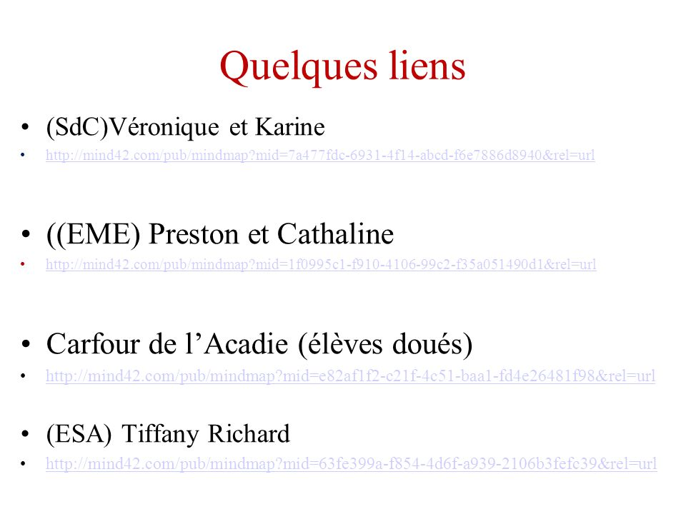 Quelques liens ((EME) Preston et Cathaline