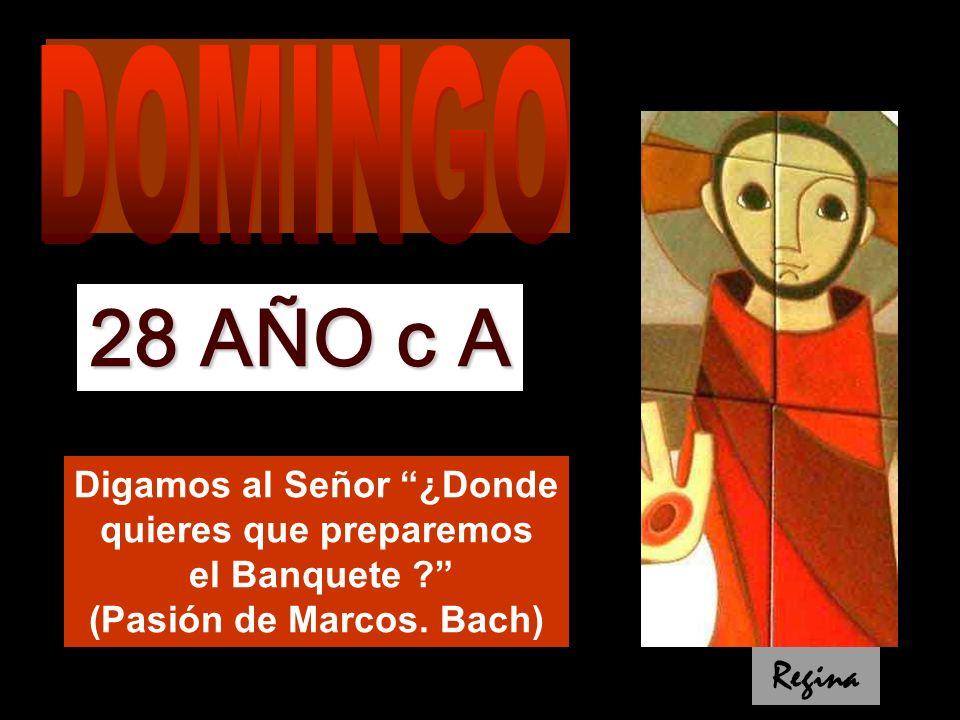 DOMINGO 28 AÑO c A. Digamos al Señor ¿Donde quieres que preparemos el Banquete (Pasión de Marcos. Bach)
