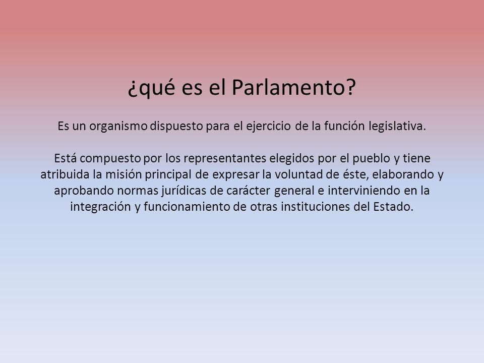 ¿qué es el Parlamento. Es un organismo dispuesto para el ejercicio de la función legislativa.