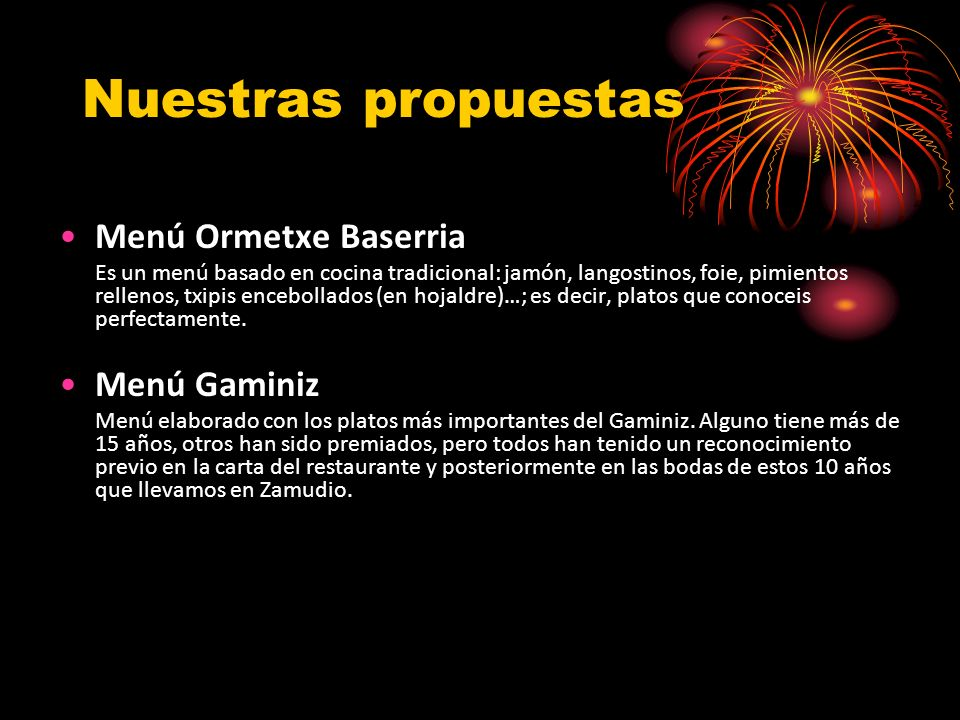Nuestras propuestas Menú Ormetxe Baserria Menú Gaminiz