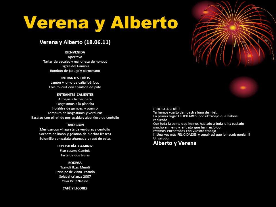 Verena y Alberto Verena y Alberto (18.06.11) BIENVENIDA Aperitivo