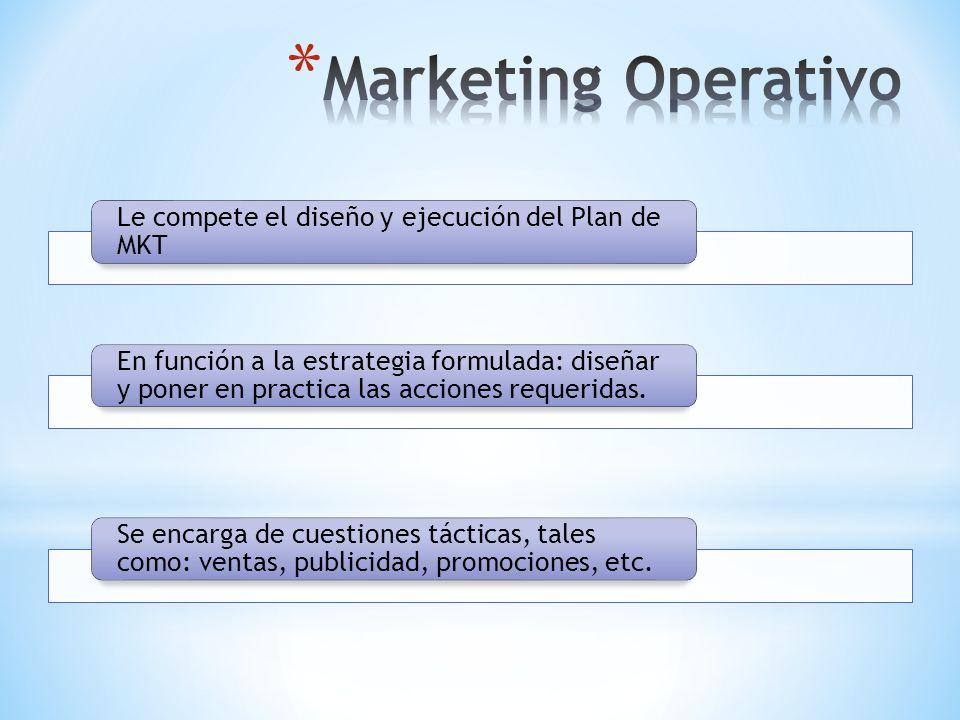 Marketing Operativo Le compete el diseño y ejecución del Plan de MKT