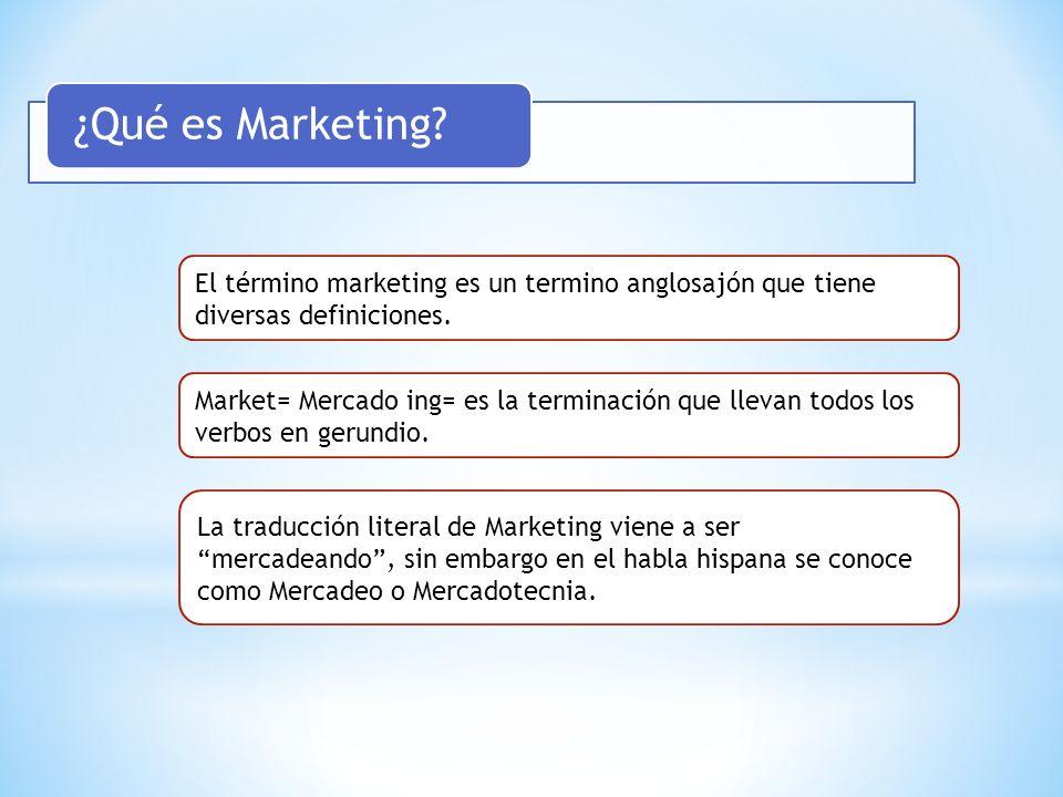 ¿Qué es Marketing El término marketing es un termino anglosajón que tiene diversas definiciones.