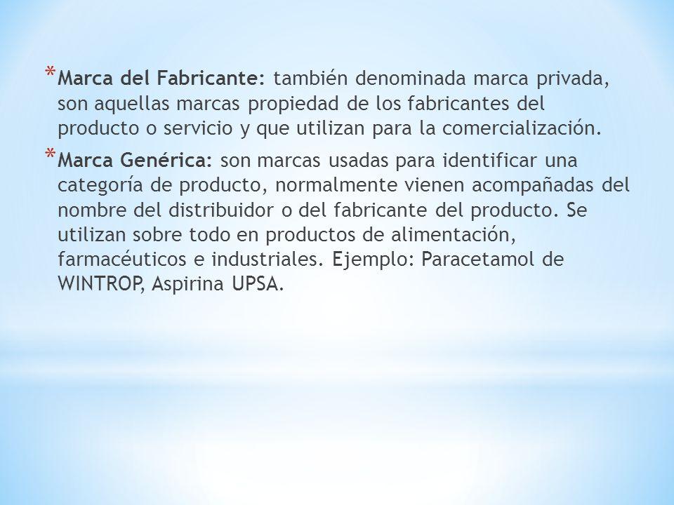 Marca del Fabricante: también denominada marca privada, son aquellas marcas propiedad de los fabricantes del producto o servicio y que utilizan para la comercialización.