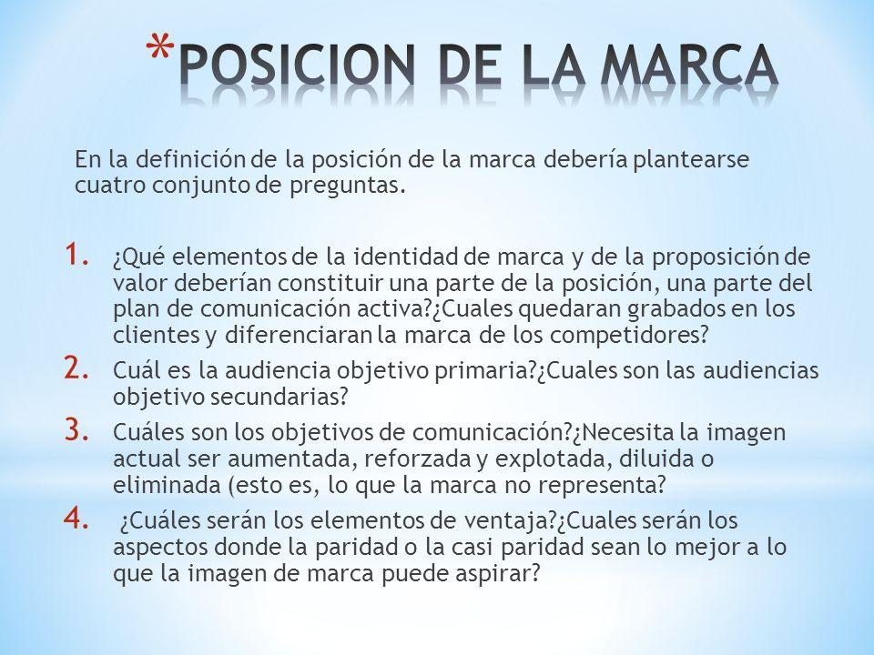 POSICION DE LA MARCA En la definición de la posición de la marca debería plantearse cuatro conjunto de preguntas.