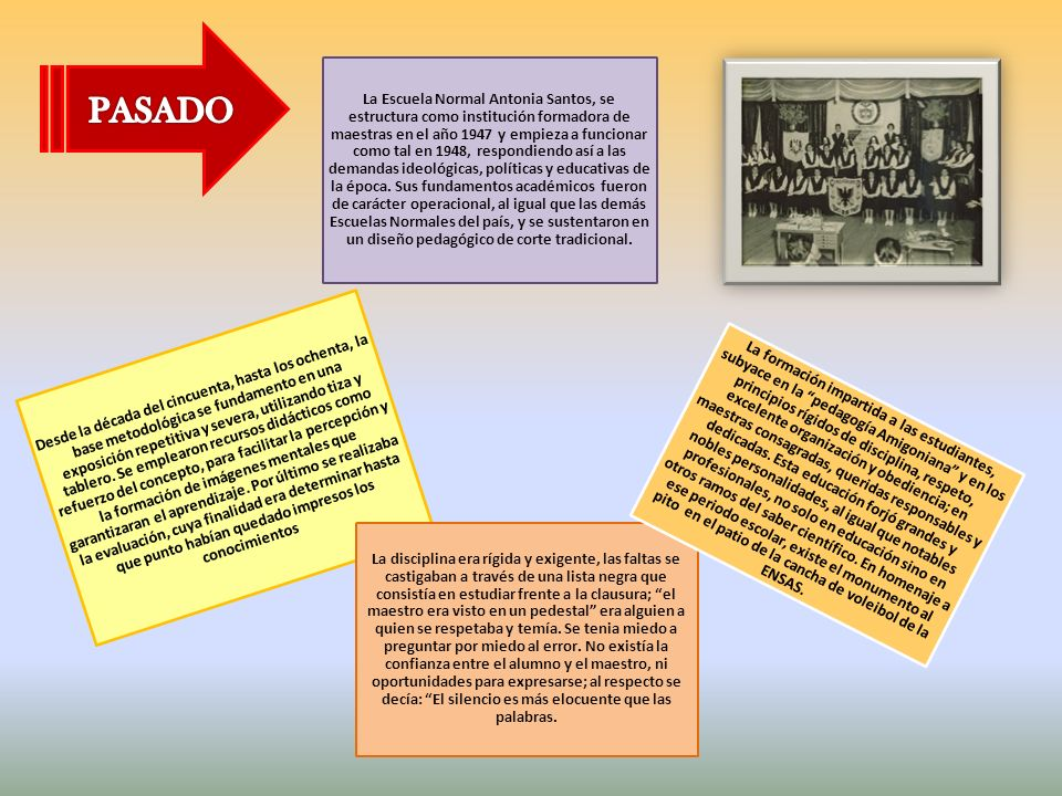 La Escuela Normal Antonia Santos, se estructura como institución formadora de maestras en el año 1947 y empieza a funcionar como tal en 1948, respondiendo así a las demandas ideológicas, políticas y educativas de la época. Sus fundamentos académicos fueron de carácter operacional, al igual que las demás Escuelas Normales del país, y se sustentaron en un diseño pedagógico de corte tradicional.