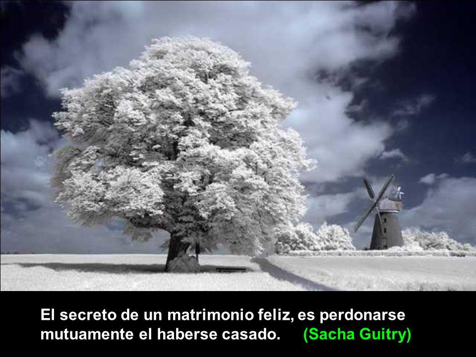 El secreto de un matrimonio feliz, es perdonarse mutuamente el haberse casado. (Sacha Guitry)