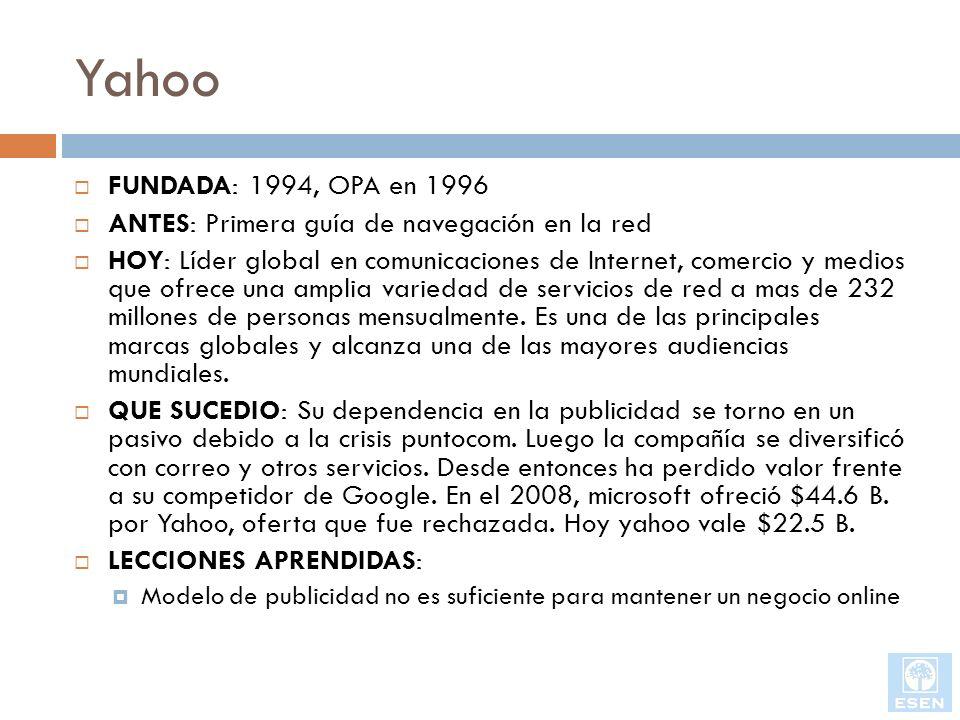 Yahoo FUNDADA: 1994, OPA en 1996. ANTES: Primera guía de navegación en la red.
