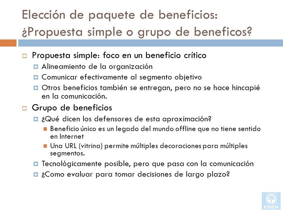 Elección de paquete de beneficios: ¿Propuesta simple o grupo de beneficos