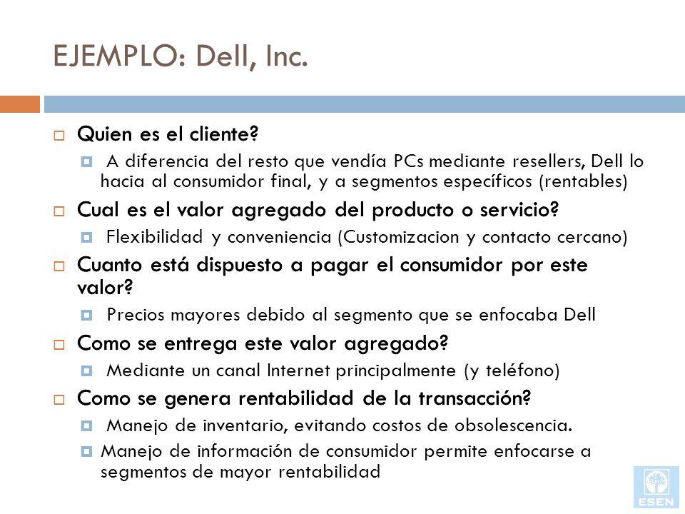 EJEMPLO: Dell, Inc. Quien es el cliente