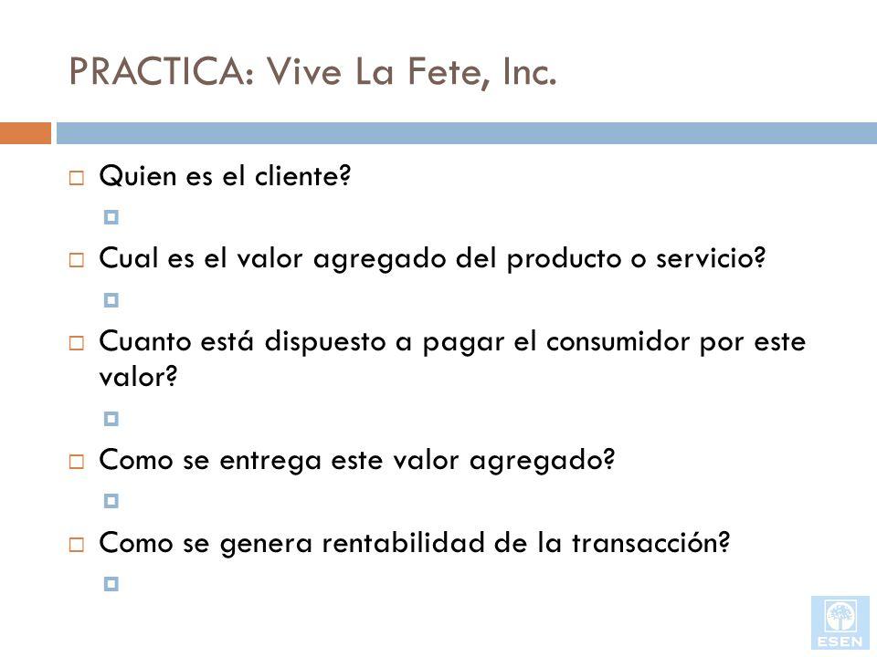 PRACTICA: Vive La Fete, Inc.