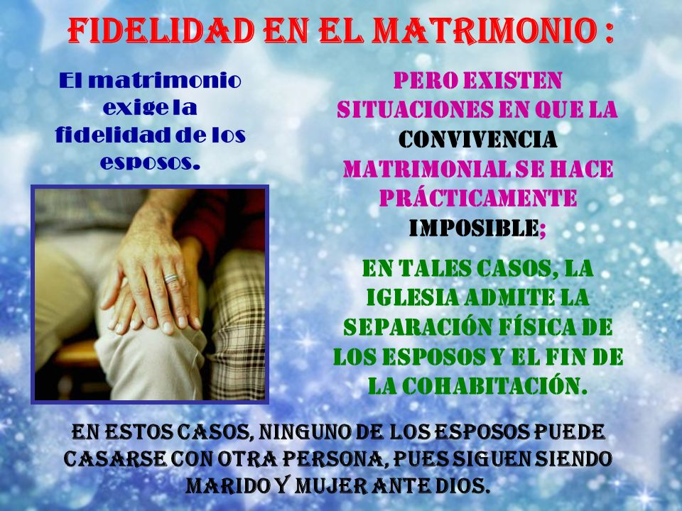 FIDELIDAD EN EL MATRIMONIO :