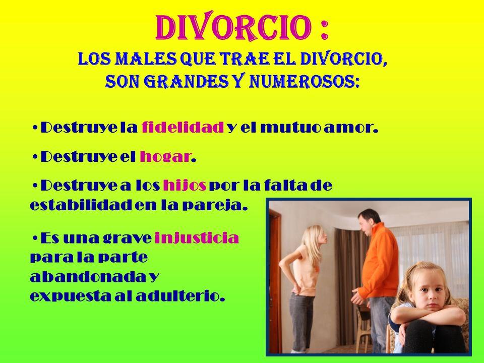 Los males que trae el divorcio, son grandes y numerosos: