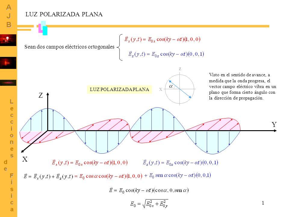 Z Y X LUZ POLARIZADA PLANA Sean dos campos eléctricos ortogonales