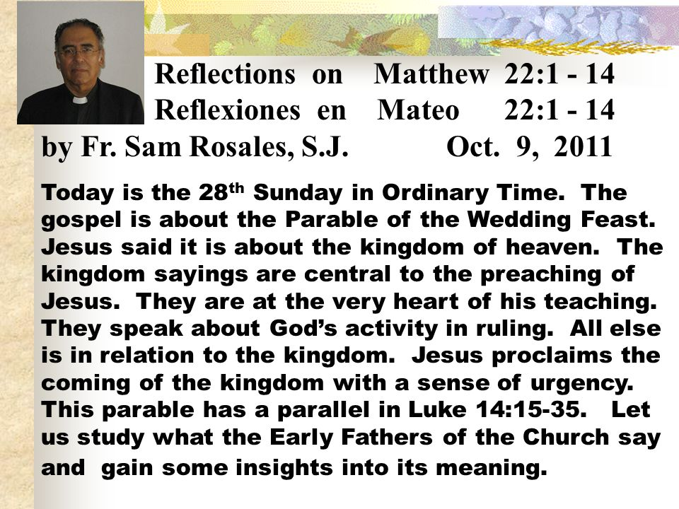 Reflections on Matthew 22:1 - 14