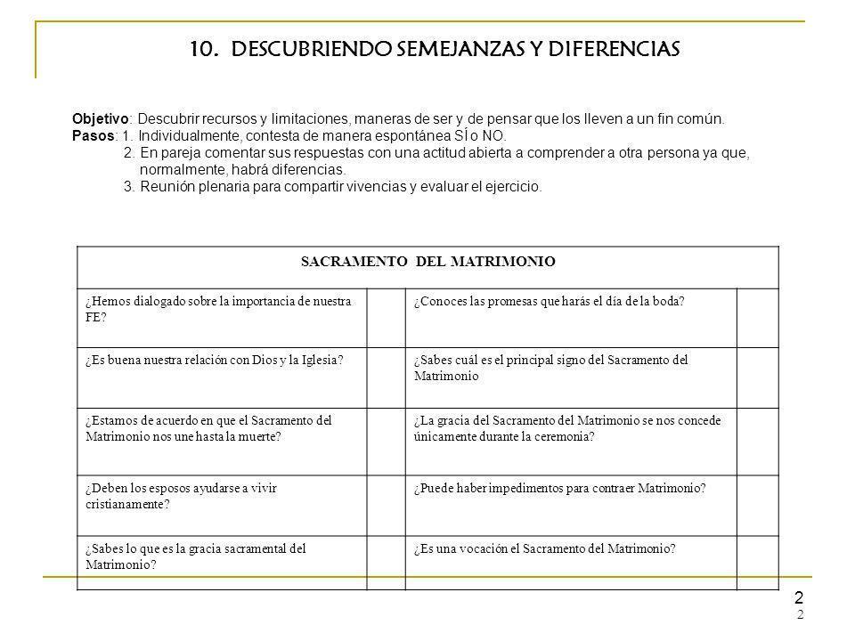 10. DESCUBRIENDO SEMEJANZAS Y DIFERENCIAS SACRAMENTO DEL MATRIMONIO