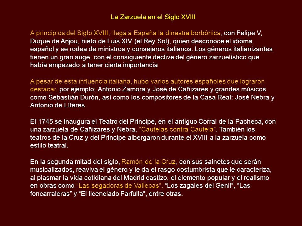 La Zarzuela en el Siglo XVIII