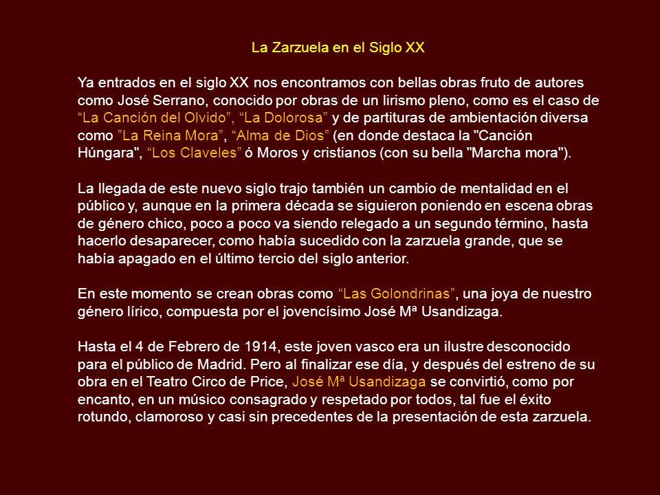 La Zarzuela en el Siglo XX