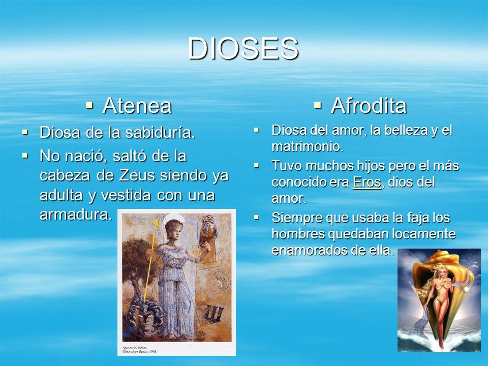 DIOSES Atenea Afrodita Diosa de la sabiduría.