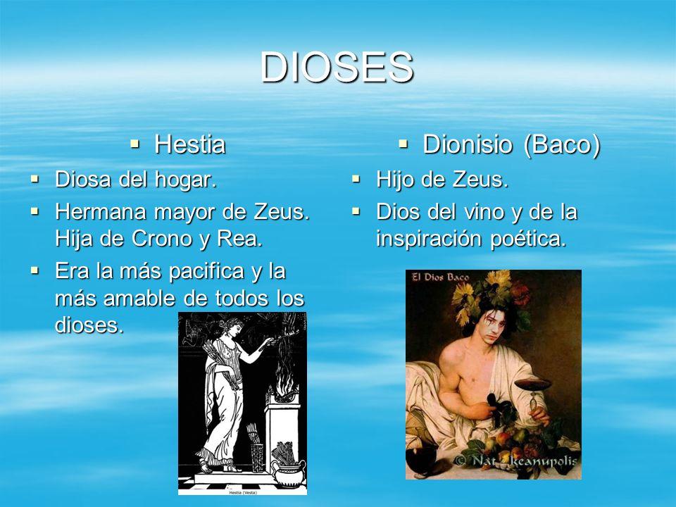 DIOSES Hestia Dionisio (Baco) Diosa del hogar.