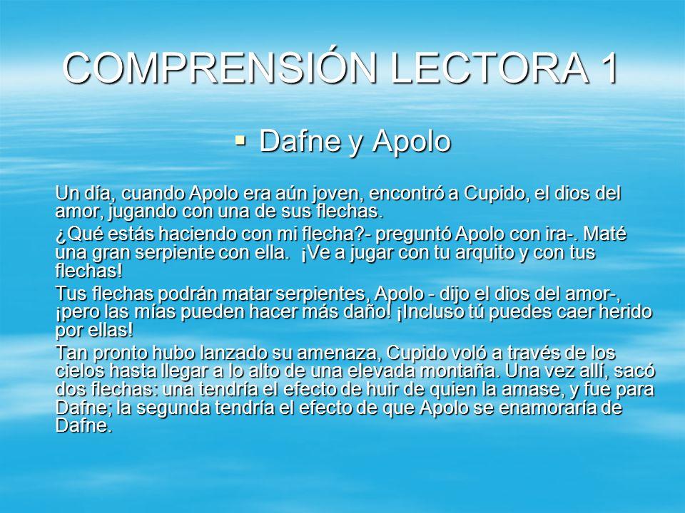 COMPRENSIÓN LECTORA 1 Dafne y Apolo