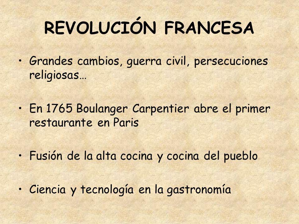 REVOLUCIÓN FRANCESA Grandes cambios, guerra civil, persecuciones religiosas… En 1765 Boulanger Carpentier abre el primer restaurante en Paris.